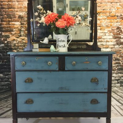 Updated Vintage Mirror and Dresser Painted Blue for Sale