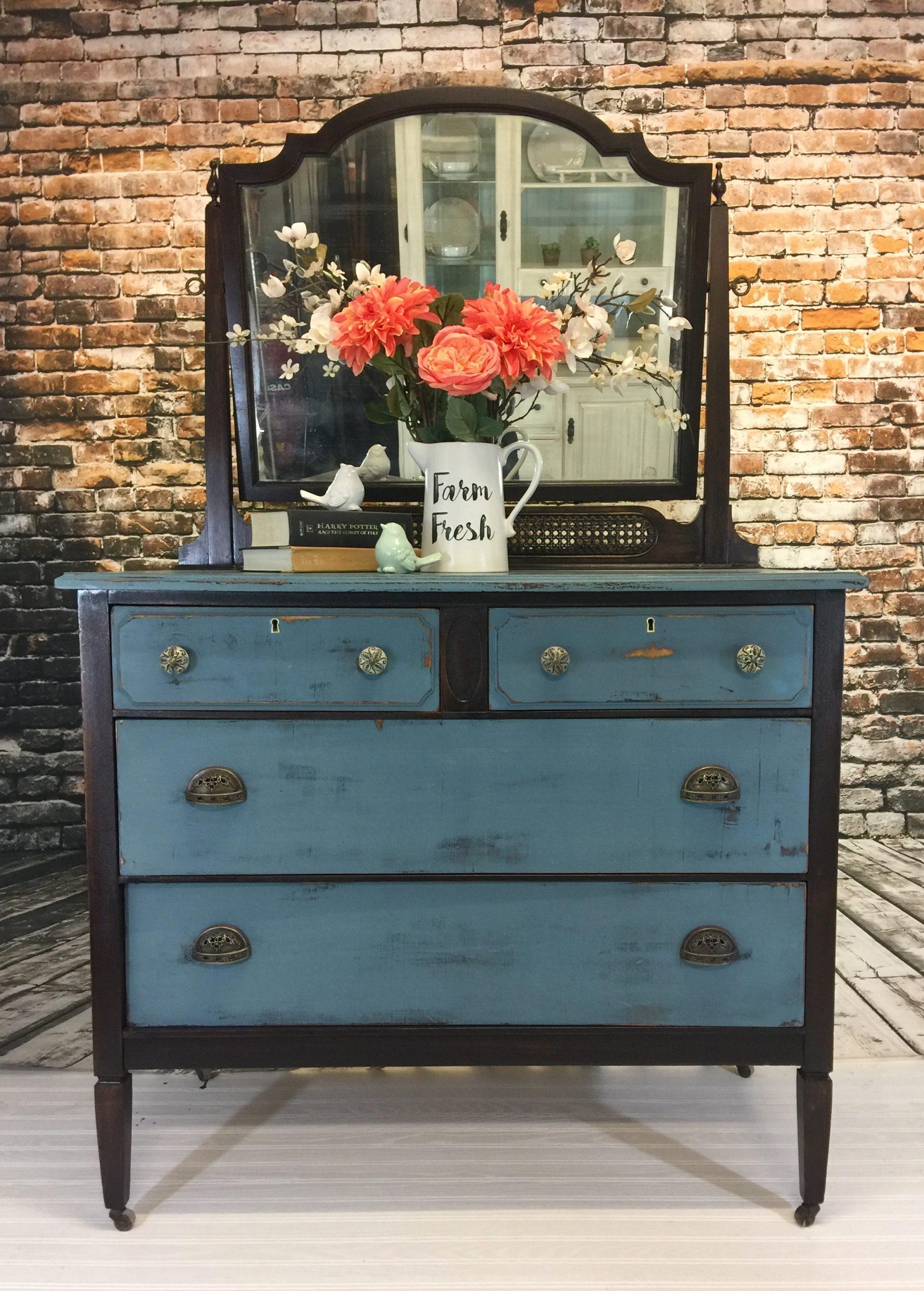 Updated Vintage Dresser And Mirror Blusoul Design