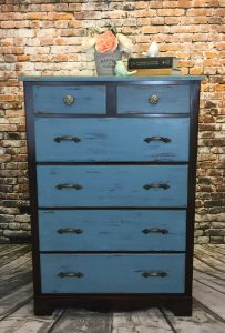Upright 6 Drawer Dresser Painted Blue for Sale