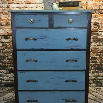Upright 6 Drawer Dresser Painted Blue for Sale