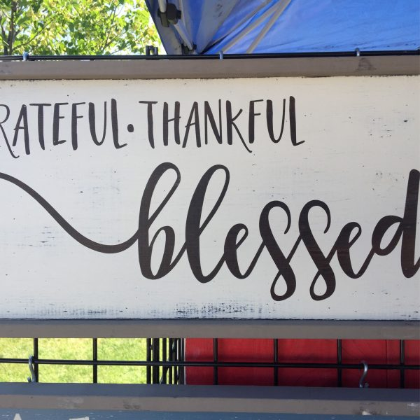 Grateful, Thankful, Blessed Rustic Farmhouse Sign for Sale